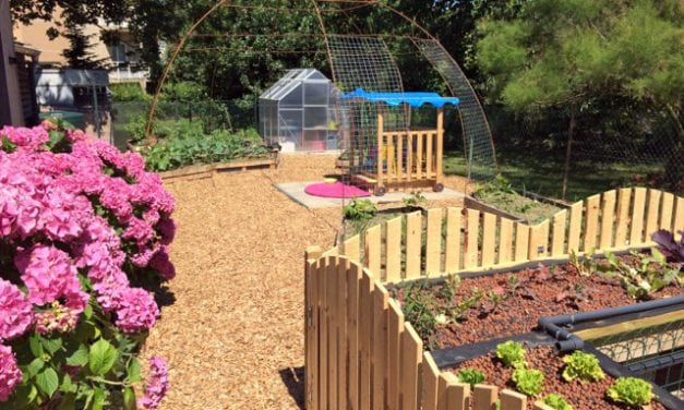 Une maison pour les petits bouts dans un jardin en permaculture.