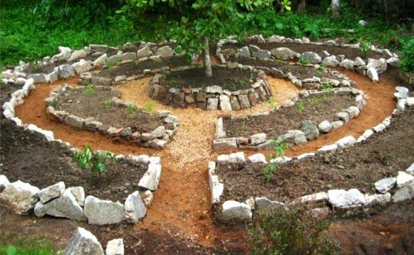Un jardin mandala en permaculture requiert un agencement spécifique avec des buttes et divers supports de cultures pour créer un espace beau, harmonieux et inspirant riche en biodiversité.