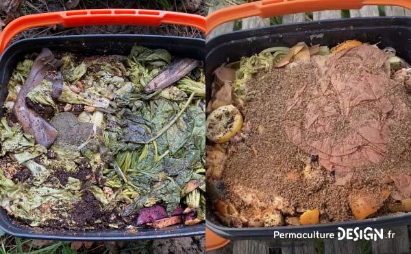 Exemples de composteur de cuisine Bokashi dont le contenu, très diversifié, a bien fermenté et va pouvoir être mis au jardin.