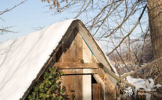 La cabane à outil avec un trou au niveau de la porte reste ainsi accessible aux oiseaux sédentaires, même en hiver.